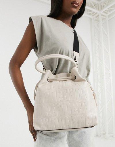 Portafoglio Bianco donna Borsa a secchiello écru con coulisse e logo - Bianco - DKNY