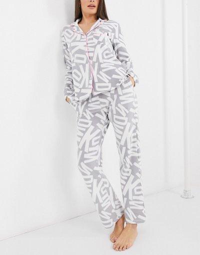 Pigiami Grigio donna Pigiama avvolgente con colletto con rever e logo in pile grigio - DKNY