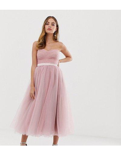 Eleganti con scollo Rosa donna Vestito da cerimonia a fascia rosa con gonna a ruota al polpaccio - Dolly&Delicious Petite