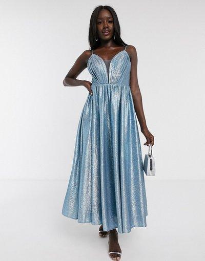 Blu donna Vestito al polpaccio blu glitter con scollo profondo e pieghe sul davanti - Dolly&Delicious