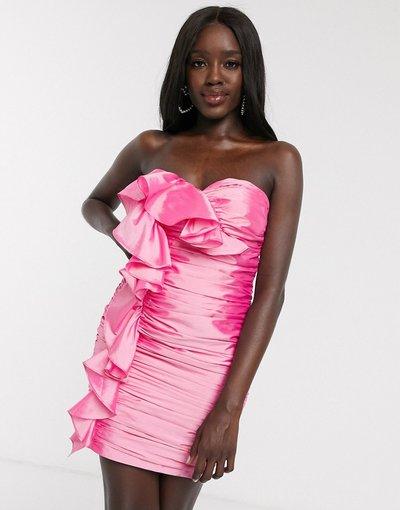 Rosa donna Vestito corto rosa con grandi volant - Dolly&Delicious
