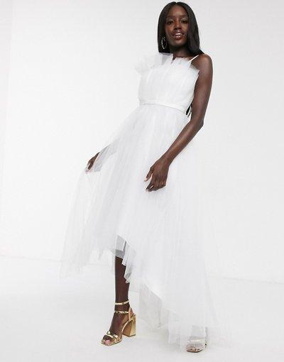 Bianco donna Vestito da prom midi asimmetrico a strati con scollo alla Bardot in tulle bianco - Dolly&Delicious
