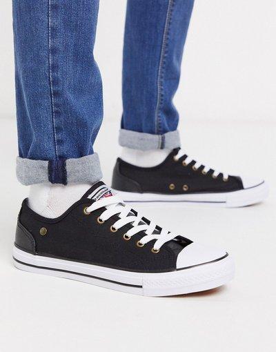 Sneackers Nero uomo Scarpe di tela stringate nere - Dunlop - Nero
