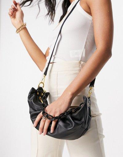 Portafoglio Nero donna Borsa da spalla nera con manico a catena spessa - Ego x MollyMae - Nero