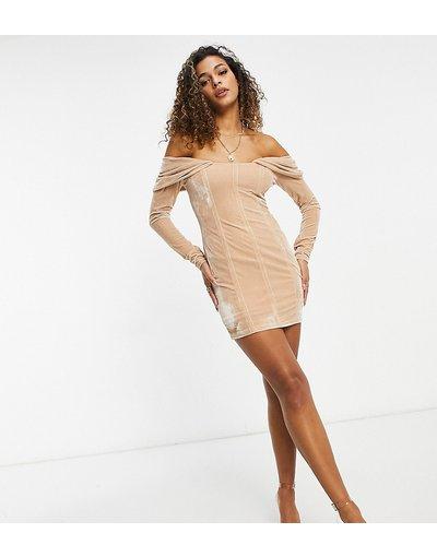 Cuoio donna Vestito corto a maniche lunghe con scollo alla Bardot in velluto color caramello - Ei8th Hour - Cuoio