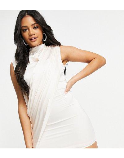 Crema donna Vestito corto accollato con drappeggi in raso crema - Ei8th Hour