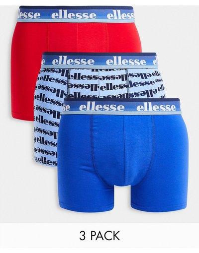 Intimo Multicolore uomo Confezione da tre paia di boxer rossi e blu con stampa - Multicolore - ellesse