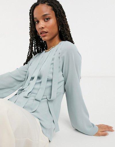 Camicia Grigio donna Blusa con pannelli grigia - Grigio - Elvi