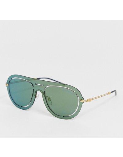 Occhiali Multicolore uomo Occhiali da sole modello aviatore con lenti verdi - Emporio Armani - Multicolore
