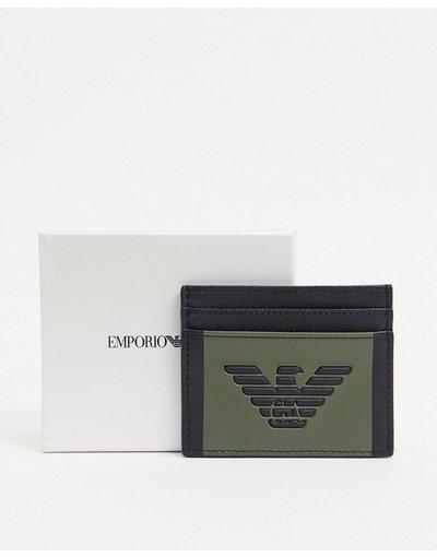 Portafoglio Nero uomo Porta carte con logo ad aquila colorblock nero e kaki - Emporio Armani