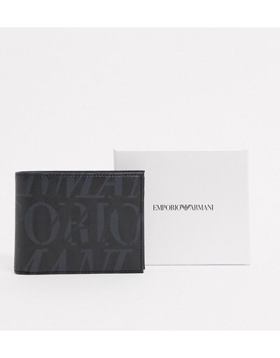 Portafoglio Nero uomo Portafoglio con tasca portamonete nero con logo grande - Emporio Armani