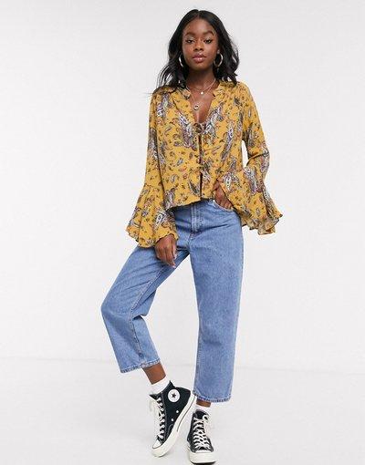 Camicia Giallo donna Top con maniche svasate a fiori senape - En Creme - Giallo