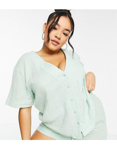 Pigiami Verde donna Pigiama con camicia senza colletto e pantaloncini in garza di cotone verde menta - Esclusiva ASOS DESIGN Curve