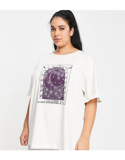 Pigiami Beige donna shirt del pigiama oversize Mix&Match écru con tarocco - Esclusiva ASOS DESIGN Curve - Beige - T