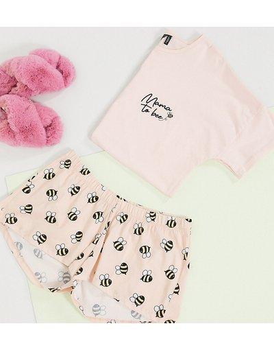 Maternita Rosa donna shirt e pantaloncini e scrittaMama To Beecolor pesca - Esclusiva ASOS DESIGN Maternity - Completo pigiama con T - Rosa