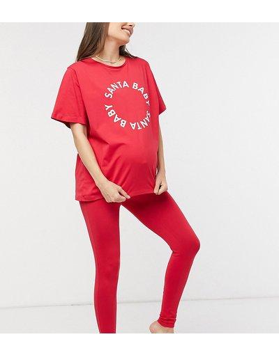 Maternita Rosso donna Esclusiva ASOS DESIGN Maternity - Pigiama natalizio rosso con T - shirt e leggings - Santa Baby