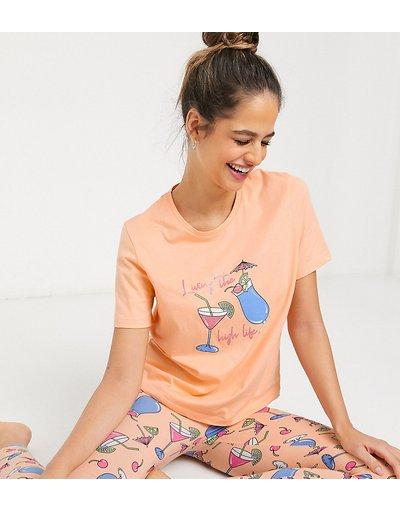 Pigiami Rosa donna shirt con scrittaLiving The High Life- Pigiama composto da leggings e T - Esclusiva ASOS DESIGN Tall - Rosa