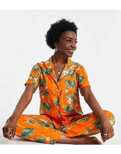 Pigiami Arancione donna Pigiama con camicia a maniche corte e pantaloni in modal con stampa di palme, colore arancione - Esclusiva ASOS DESIGN Tall