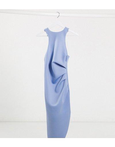 Blu donna Vestito midi accollato con dorso a vogatore e pinces al lato blu - Esclusiva ASOS DESIGN Tall