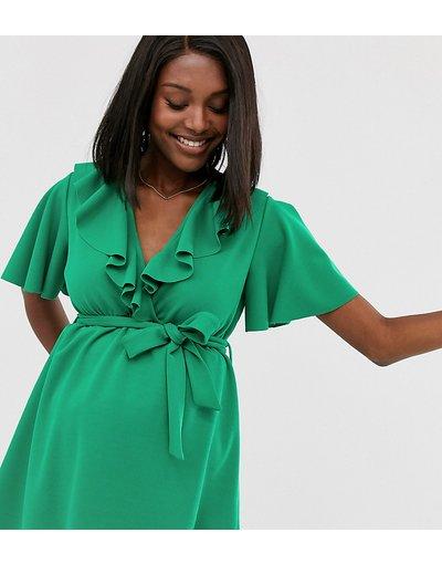 Maternita Verde donna Tunica a portafoglio verde acceso con cintura abbinata - Esclusiva Blume Maternity