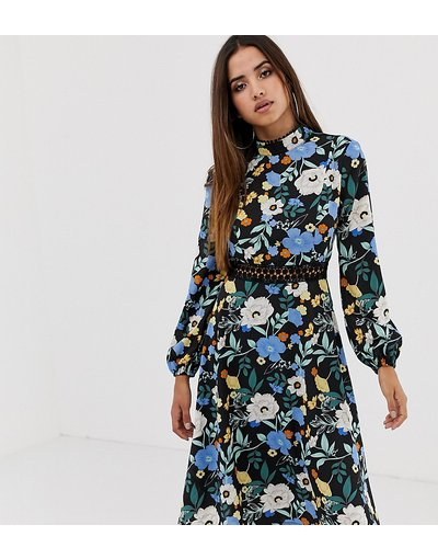 Eleganti longuette Multicolore donna Vestito midi nero a fiori con schiena scoperta e inserti in pizzo - Esclusiva Boohoo - Multicolore