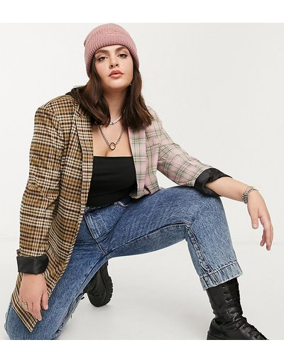 Marrone donna Esclusiva COLLUSION Plus - Blazer a quadri - Marrone