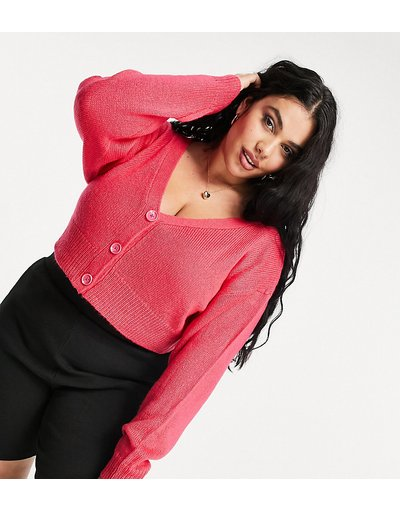 Rosa donna Cardigan con spalle scoperte in tessuto spazzolato rosa - Esclusiva COLLUSION Plus moda abbigliamento