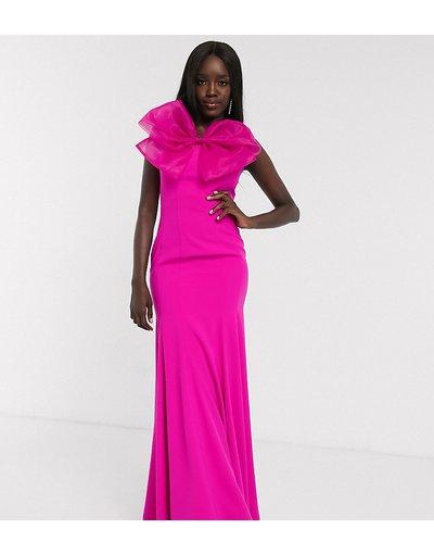 Eleganti lunghi Rosa donna Vestito a fascia lungo a sirena con grande fiocco rosa vivo - Esclusiva Dolly&Delicious