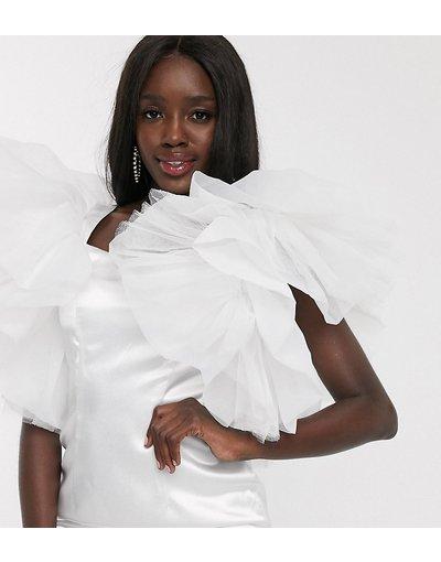 Bianco donna Vestito corto a fascia con maniche in tulle oversize bianco - Esclusiva Dolly&Delicious