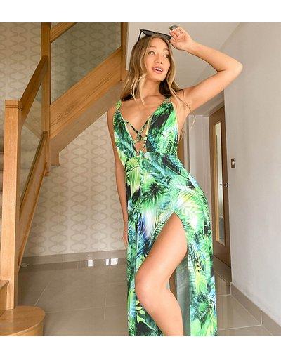 Multicolore donna Vestito lungo con scollo profondo a reticolo doppio spacco alla coscia e stampa tropicale - Esclusiva Ei8th Hour - Multicolore
