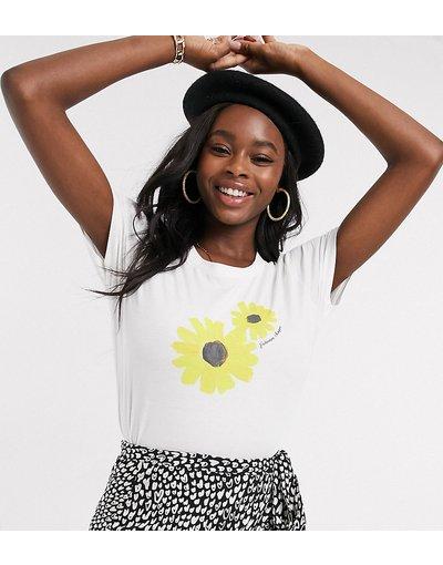 T-shirt Bianco donna Esclusiva Fabienne Chapot - shirt bianca con girasole - Joanne - Bianco - T