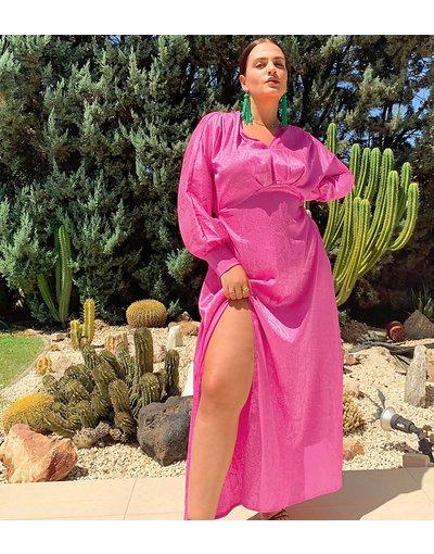 Rosa donna Vestito lungo rosa con maniche ad ali di pipistrello - Esclusiva Flounce London Plus