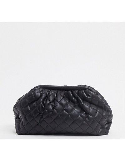 Portafoglio Nero donna Pochette a soffietto morbida trapuntata nera - Esclusiva Glamorous - Nero