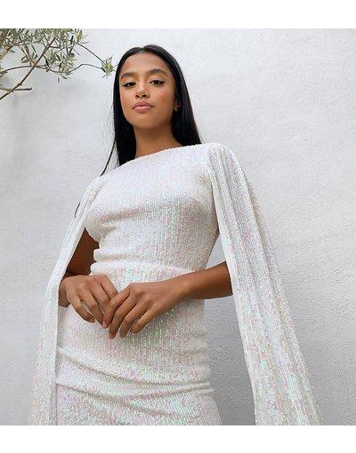 Bianco donna Abito corto con mantella e paillettes color bianco iridescente - Esclusiva Jaded Rose Petite