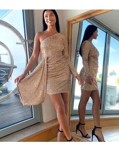 Oro donna Vestito corto monospalla con strass e coda oro - Esclusiva Jaded Rose Petite
