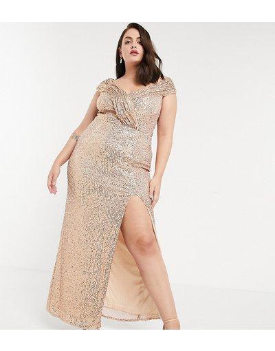 Oro donna Vestito lungo con paillettes e spalle scoperte oro - Esclusiva Jaded Rose Plus