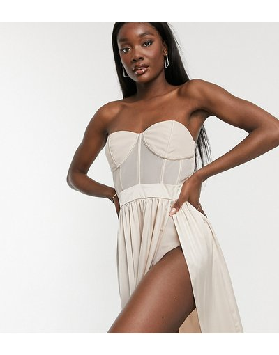 Crema donna Vestito con gonna al polpaccio e dettaglio con corsetto color champagne - Esclusiva Jaded Rose Tall - Crema