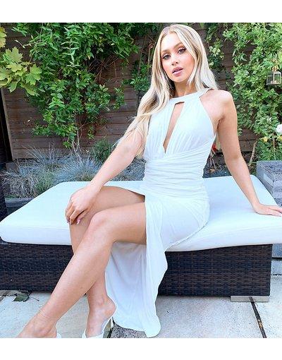 Bianco donna Vestito accollato con gonna al polpaccio avorio - Esclusiva Jaded Rose - Bianco