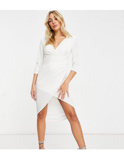 Crema donna Vestito corto a portafoglio in velluto color crema - Esclusiva Jaded Rose