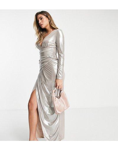 Crema donna Vestito lungo con scollo profondo color champagne metallizzato - Esclusiva Jaded Rose - Crema