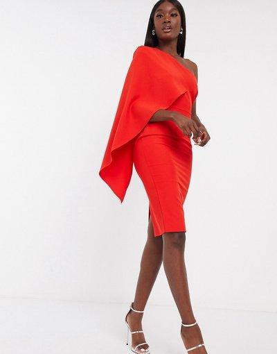 Rosso donna Vestito midi con mantella monospalla rosso - Esclusiva Lavish Alice