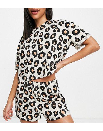 Pigiami Multicolore donna shirt con stampa leopardata in cotone organico colore maturale - Completo pantaloncini e T - Esclusiva Lindex - Multicolore - Jenna