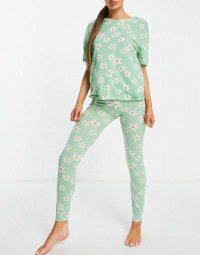 Pigiami Verde donna shirt e leggings in cotone organico verde salvia con margherite - Esclusiva Lindex - Josie - Set T