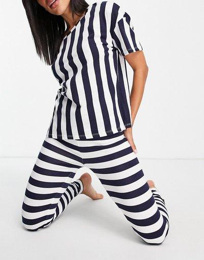 Pigiami Blu navy donna shirt e leggings in cotone organico blu navy a righe - Esclusiva Lindex - T
