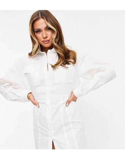 Crema donna Vestito camicia bianco con bottoni e cut - Esclusiva Missy Empire - out sul retro - Crema