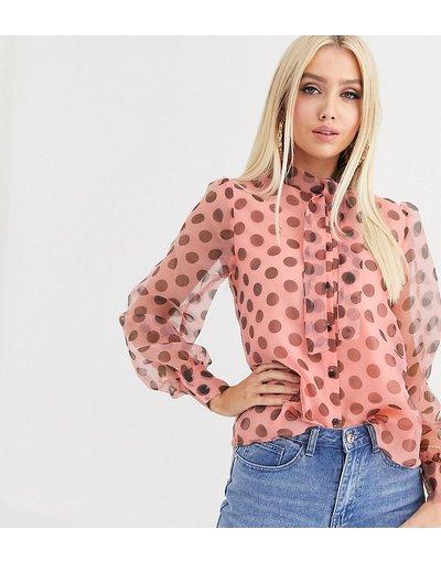 Camicia Multicolore donna Camicia in organza con maniche a sbuffo rosa a pois - Esclusiva PrettyLittleThing - Multicolore
