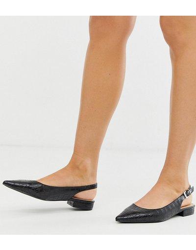 Scarpa bassa Nero donna Scarpe basse nere effetto coccodrillo con cinturino posteriore - Esclusiva RAID - Revel - Nero