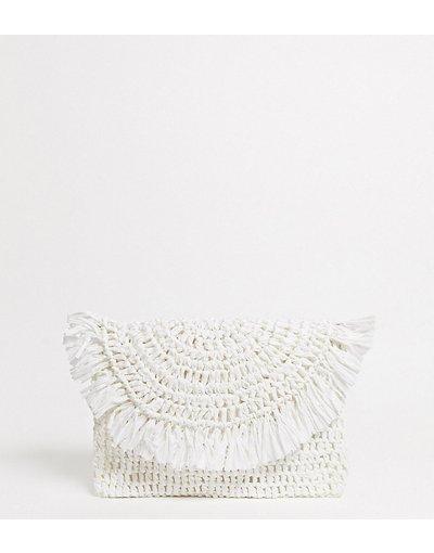 Borsa Bianco donna Pochette con risvolto bianca in paglia - Esclusiva South Beach - Bianco