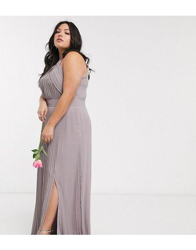 Grigio donna Vestito da damigella lungo a pieghe grigio - Esclusiva TFNC Plus b