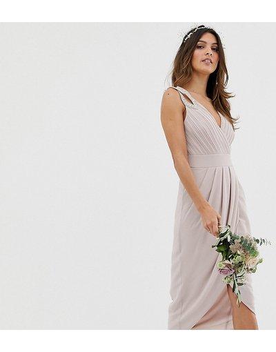 Eleganti longuette Marrone donna Vestito da damigella midi a portafoglio grigio talpa - Esclusiva TFNC - Marrone
